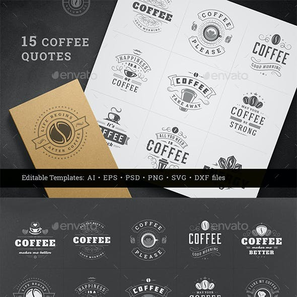 Coffee Quotes and Phrases Set