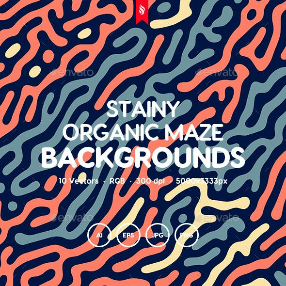 Stainy - Organic Rounded Maze Lines Background Set