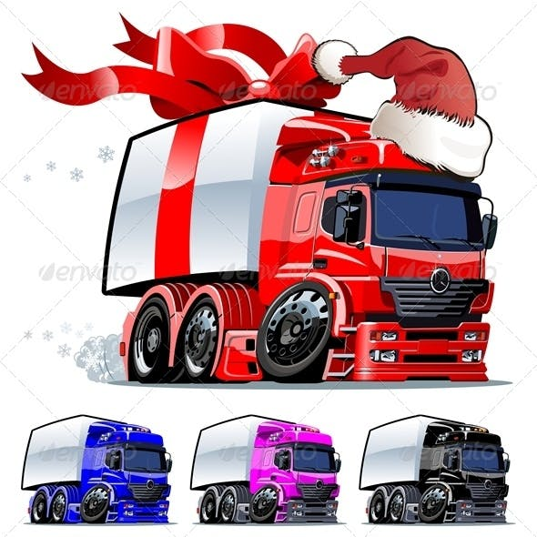 Vector Cartoon Christmas Cargo Truck