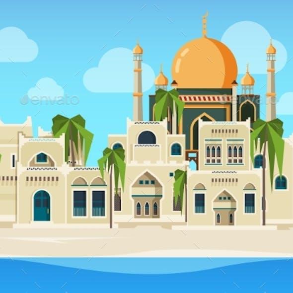 Arabic Landscape. Cultural Muslim Buildings Desert