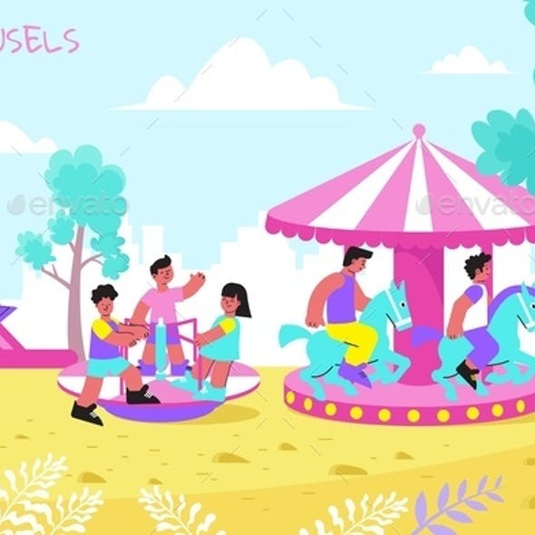 Kids Carousel Flat Composition