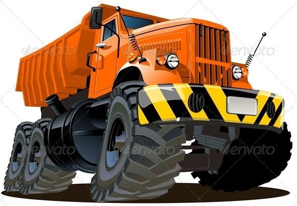 Vector Cartoon Dump Truck 6x6 - Man-made Objects Objects
