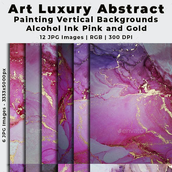 Art Luxury Abstract Painting Vertical Backgrounds Alcohol Ink Pink and Gold