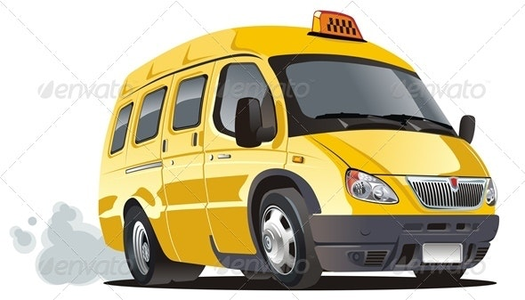Vector Cartoon Taxi Bus - Man-made Objects Objects