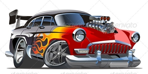 Vector Cartoon Retro Hotrod - Man-made Objects Objects