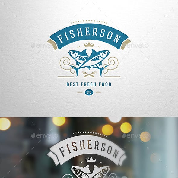 Premium Fish Restaurant Logo Design