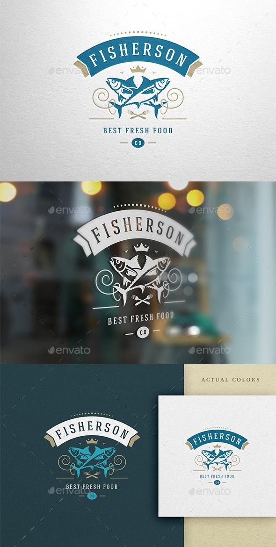 Premium Fish Restaurant Logo Design - Food Logo Templates