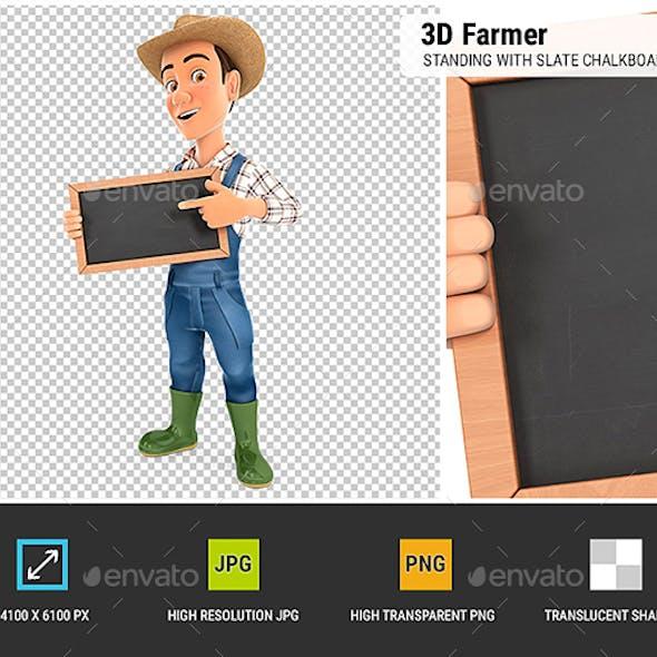3D Farmer Standing with Slate Chalkboard
