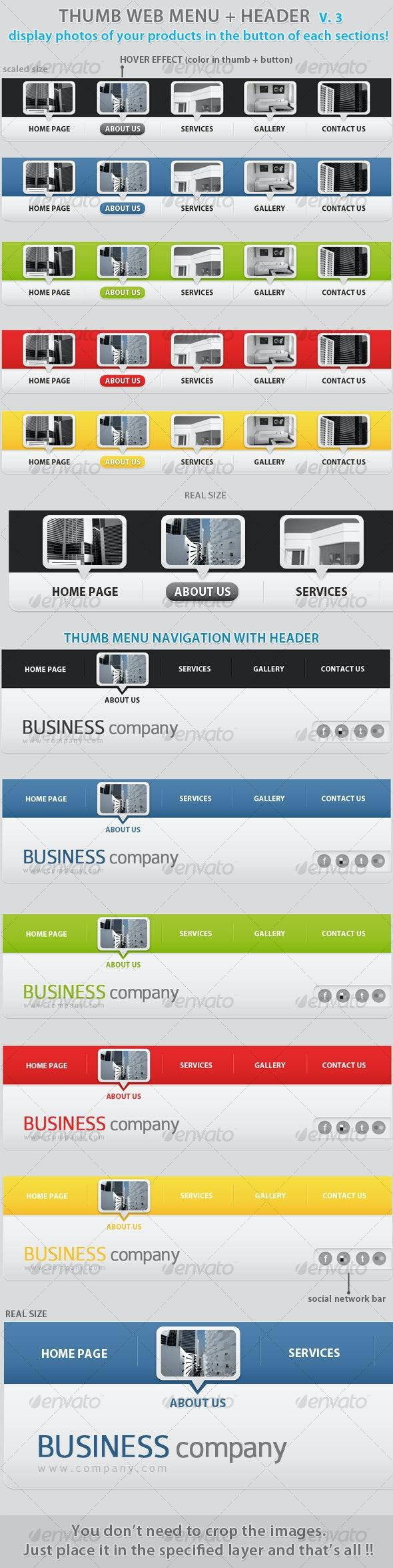 Thumb menu nav&header place photos in buttons v.3! - Web Elements