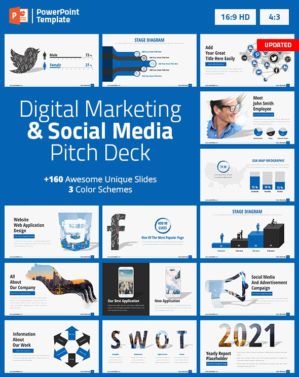 Digital Marketing and Social Media PPT Pitch Deck - Business PowerPoint Templates