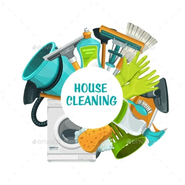 Cleaning Tools Banner, Clean House Service
