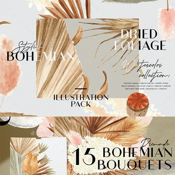 Bohemian Dried Foliage Illustration Pack