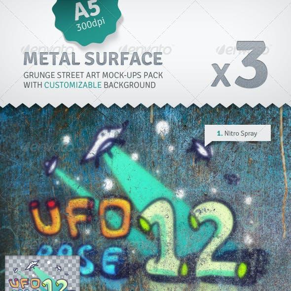 Metal Surface - 3 Graffiti Street Art Mockups