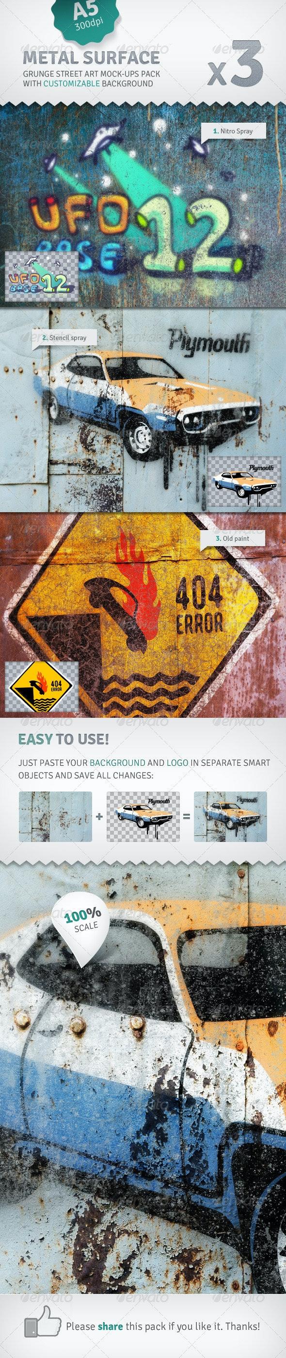 Metal Surface - 3 Graffiti Street Art Mockups - Miscellaneous Displays