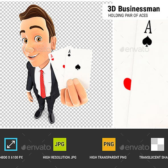 3D Businessman Holding Pair of Aces