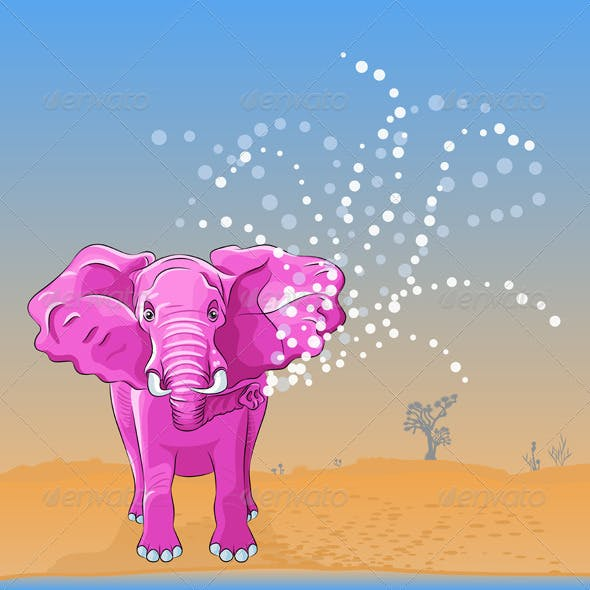 Pink Elephant Pours Water From the Trunk