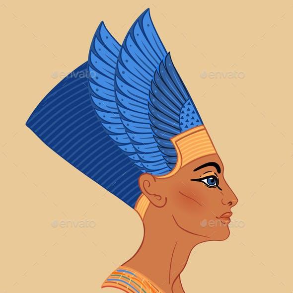 Egyptian Queen Nefertiti Isolated on White