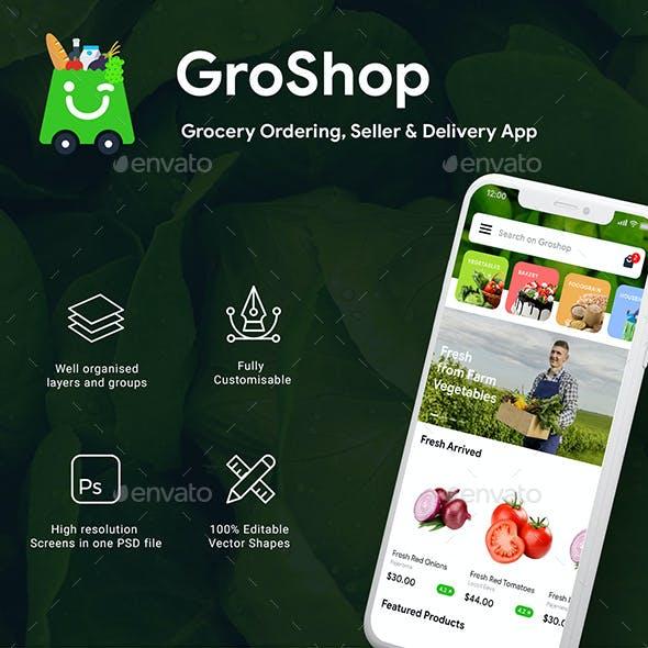 Grocery App  Ordering, Seller & Delivery App UI Kit   GroShop