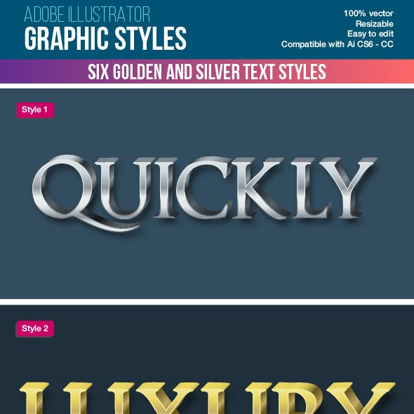 Six Metallic Illustrator Graphic Styles