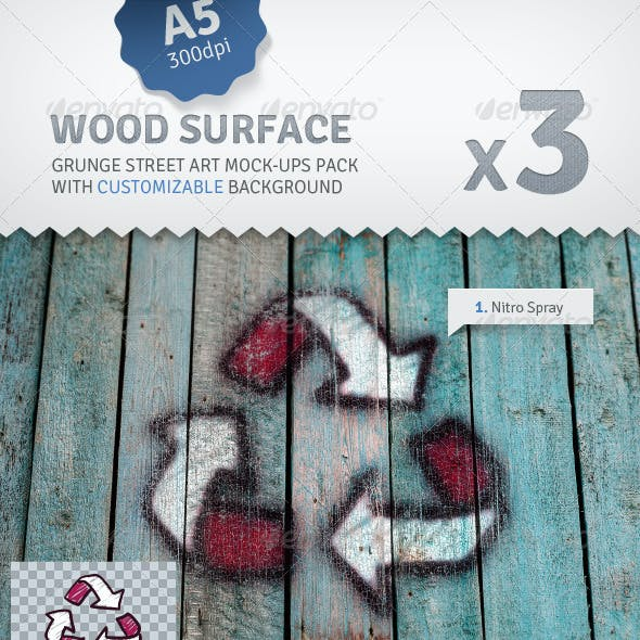 Old Wood - 3 Graffiti Street Art Mockups