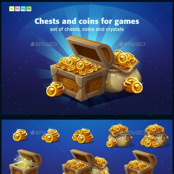 Set of Wooden Chests, Coins, Crystal