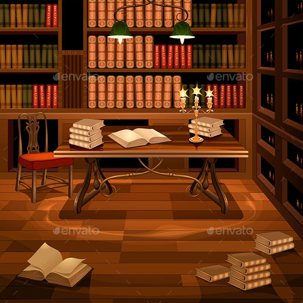 Ancient Room with Bookcase