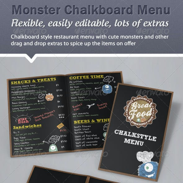 Monster Chalkboard Menu