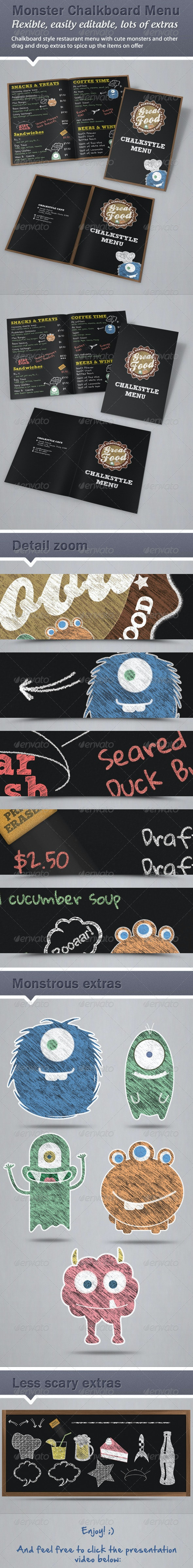 Monster Chalkboard Menu - Food Menus Print Templates