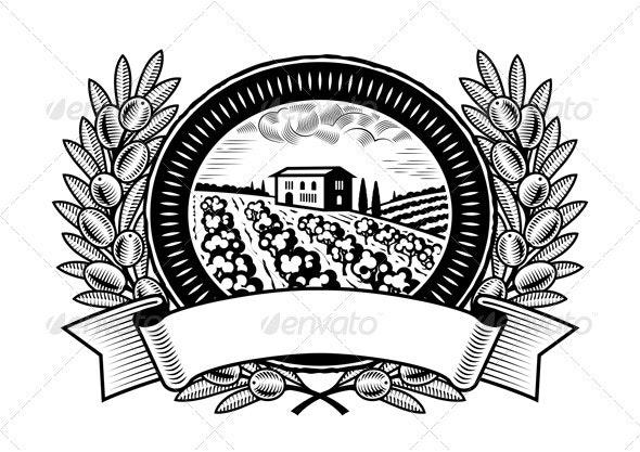 Olive Harvest Label Black And White - Decorative Symbols Decorative