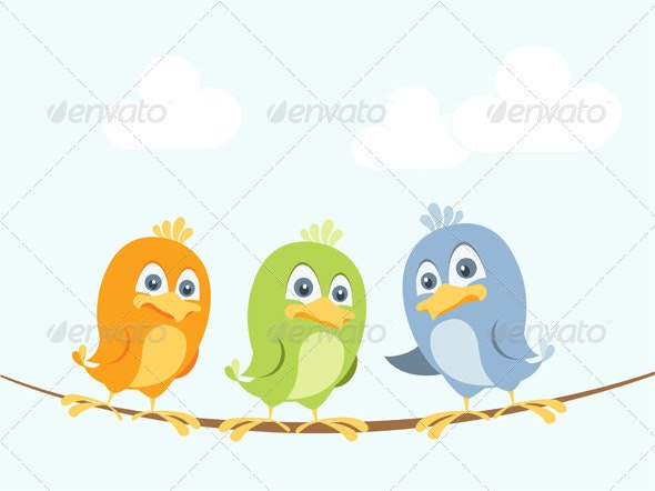 Cartoon Birds Chatting On A Wire - Animals Characters