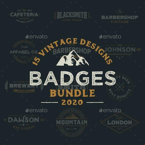 15 Vintage Logo Badges Collection