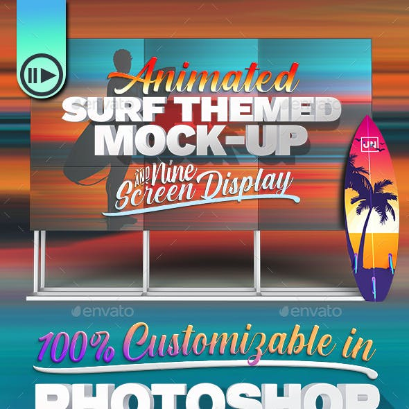 HD Display & Surfboard Mock-Up Scene with Video Enabled Screen