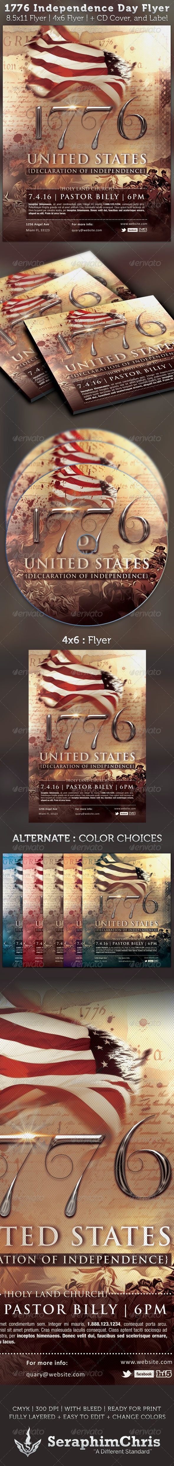 1776 Independence Day Flyer & CD Artwork Template - Church Flyers