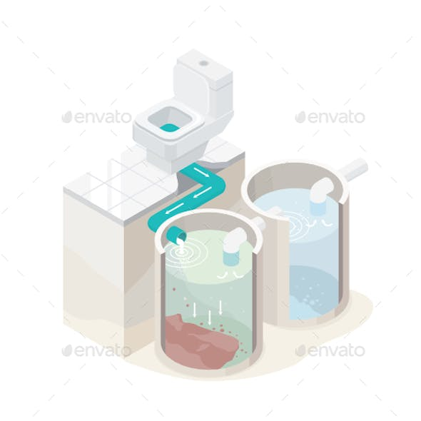 Sewage Home Plant Isometric Vector