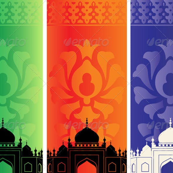 Islamic banners with mosque silhouette