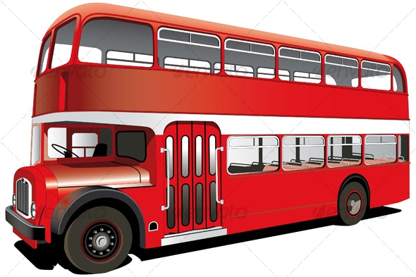 red double decker bus - Objects Vectors