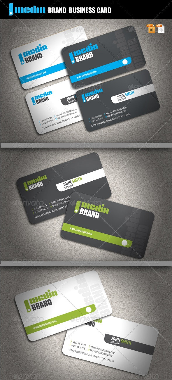 Media Brand Business Card - Corporate Business Cards