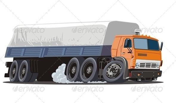 Cartoon Cargo Semi Truck - Man-made Objects Objects