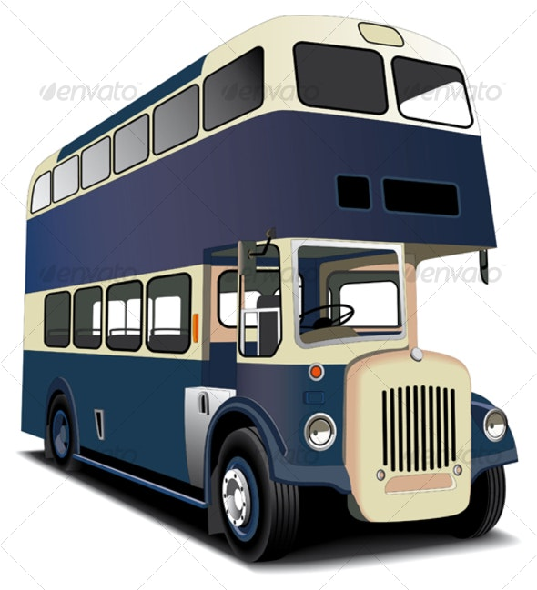blue double decker bus - Objects Vectors