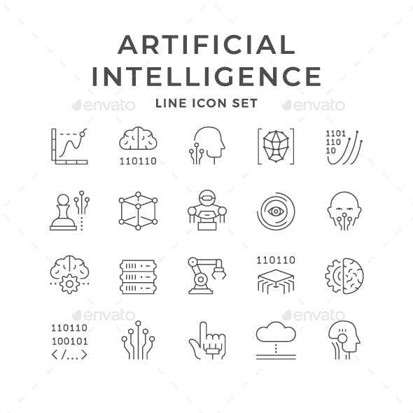 Set Line Icons of Artificial Intelligence
