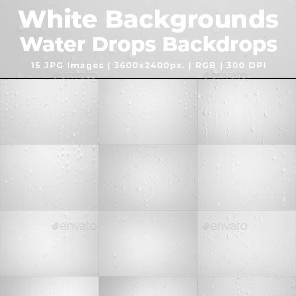 White Background Water Drops Backdrops