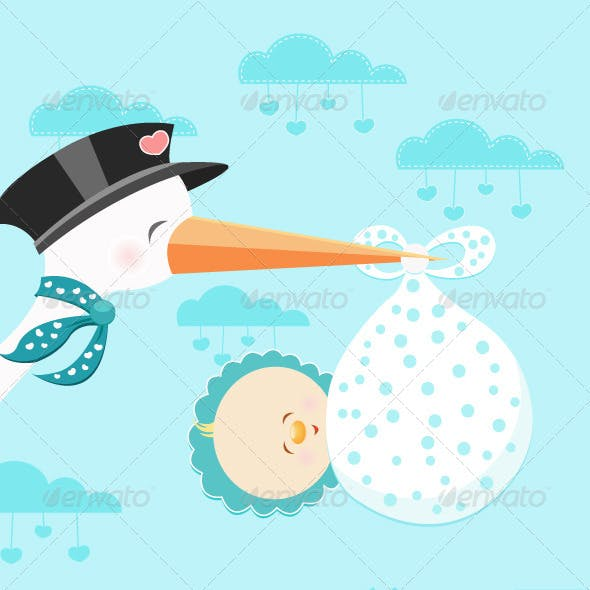 Stork Flying With Baby