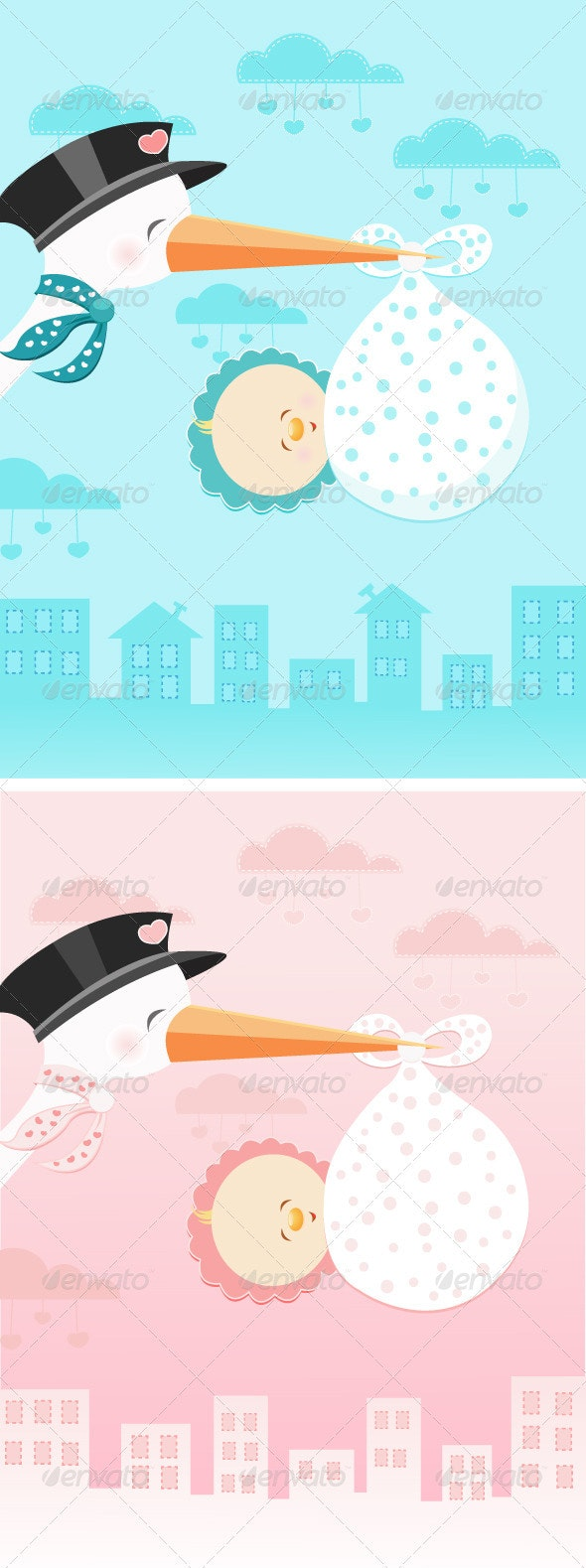 Stork Flying With Baby - People Characters