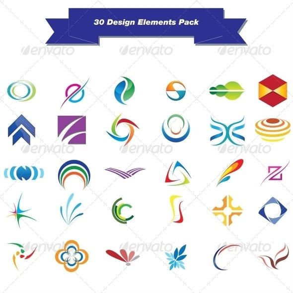 30 Design Elements Pack - Miscellaneous Vectors