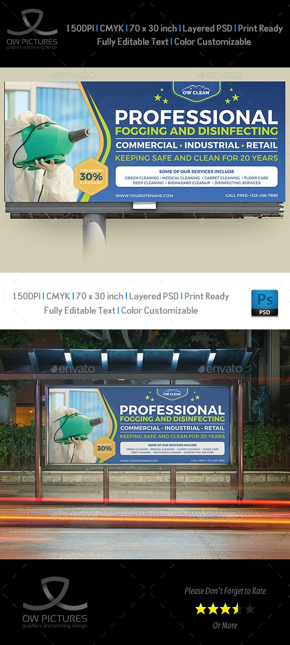 Disinfecting and Cleaning Services Billboard Template - Signage Print Templates