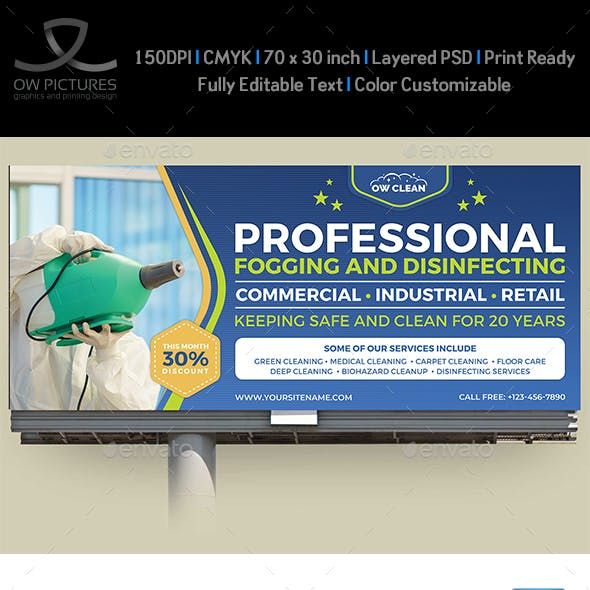 Disinfecting and Cleaning Services Billboard Template