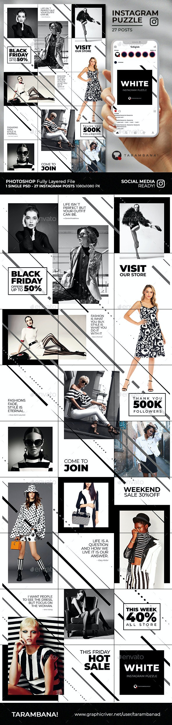 White - Instagram Puzzle Feed - Social Media Web Elements