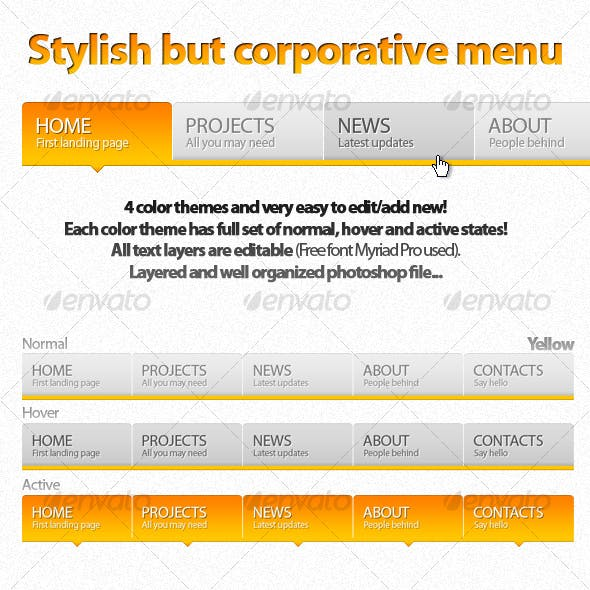 Stylish Corporate Menu!