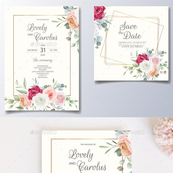 Wedding Invitation Card Floral Leaves