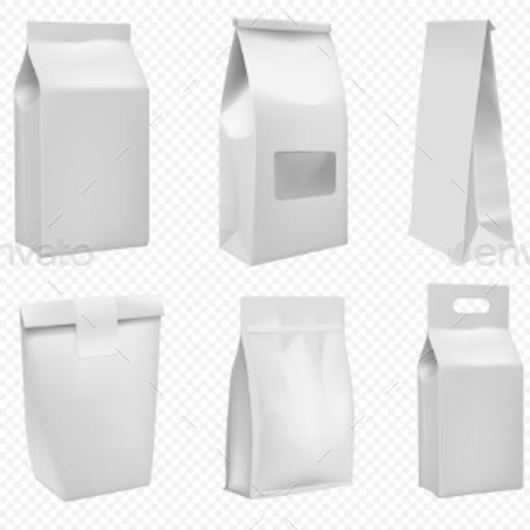 Food Package Template White Bag Mockup